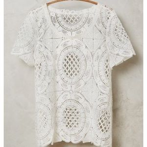Anthropologie Sandrine Cutwork Lace Tee